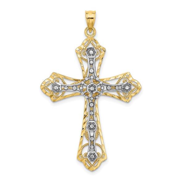 14k Gold with Rhodium-Plating and Diamond-cut Filigree Cross Pendant