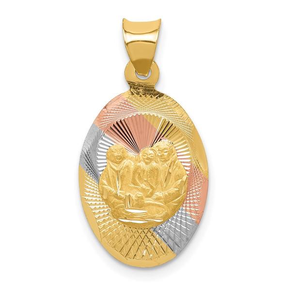 14k Yellow Gold and Rhodium Polished and Diamond-cut Baptism Oval Pendant K5680