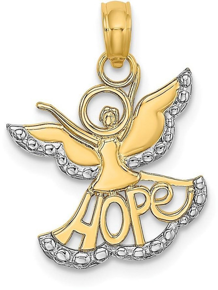 14k Yellow Gold & Rhodium Polished & Textured Cut-Out Angel with Hope Pendant
