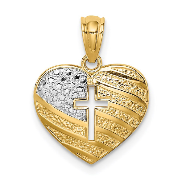 14k Yellow Gold And Rhodium Usa Flag With Cross Heart Pendant
