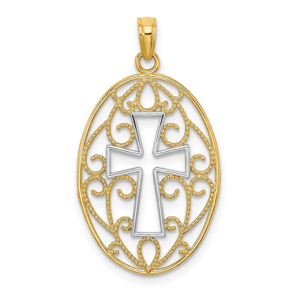 14k Yellow Gold And Rhodium Beaded Filigree Cross Pendant