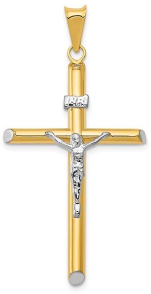 14k Yellow Gold with Rhodium INRI Hollow Crucifix Pendant