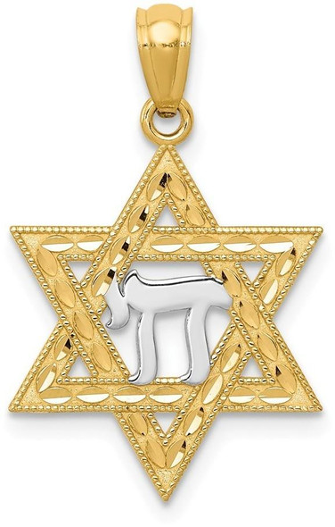 14k Yellow Gold and Rhodium Star Of David with Chai Pendant
