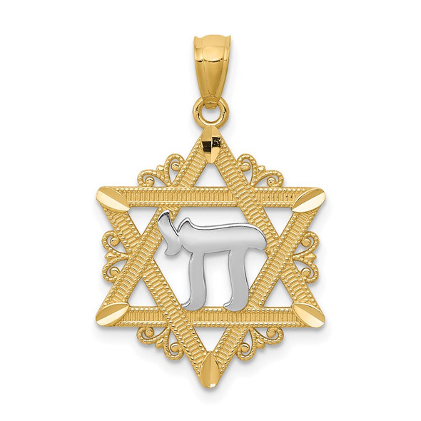 14k Yellow Gold And Rhodium Star Of David Pendant