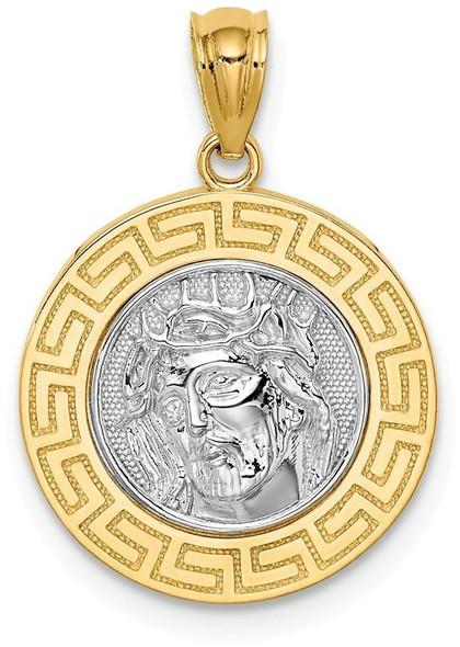 14k Yellow Gold with White Rhodium Jesus Medal Pendant C4710