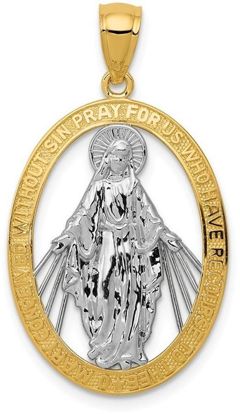 14k Yellow Gold and Rhodium Polished Miraculous Medal Pendant K6352