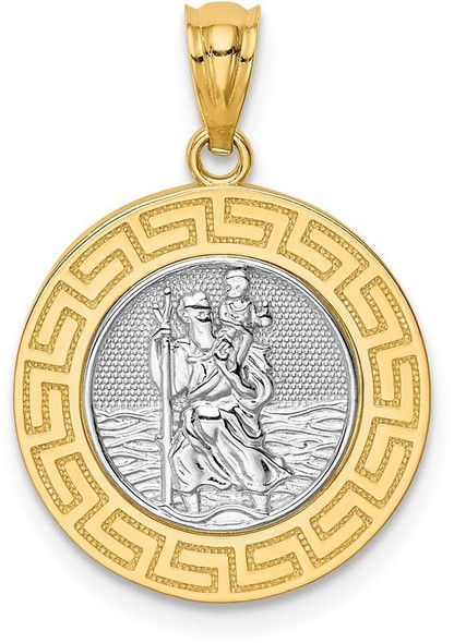 14k Yellow Gold with White Rhodium St. Christopher Medal Pendant C4713