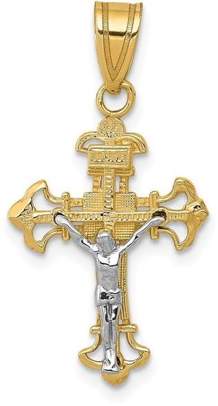 14k Yellow and White Gold Inri Fleur De Lis Crucifix Pendant D3675