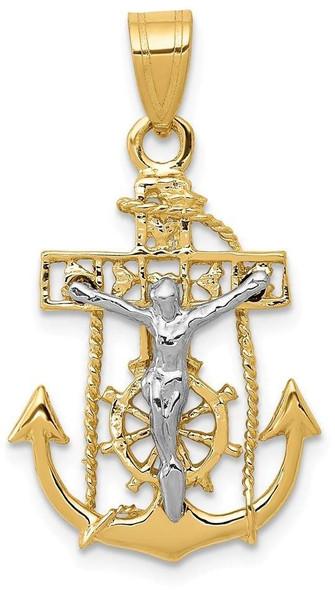 14k Yellow and White Gold Mariners Crucifix Pendant C811