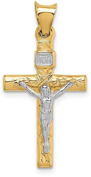14k Yellow and White Gold Crucifix Pendant K6293