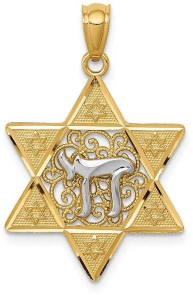 14k Yellow and White Gold Polished Star Of David with Chai Pendant