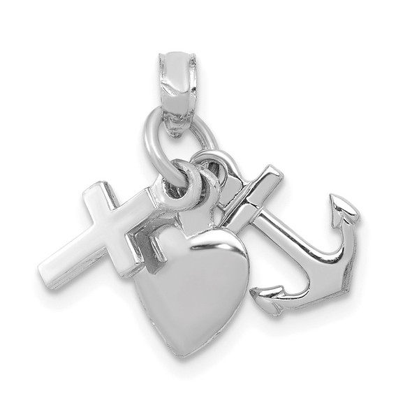 10k White Gold Faith, Hope and Charity Pendant