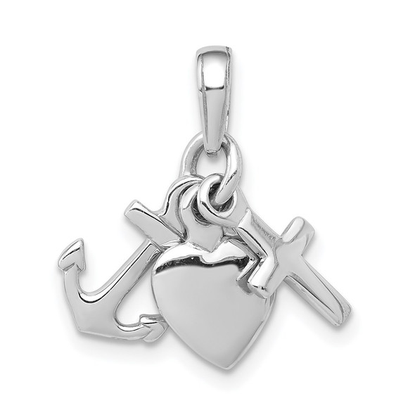 14k White Gold Faith, Hope and Charity Pendant D988W