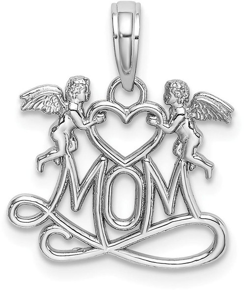 14k White Gold Mom with 2 Angels Holding Heart Pendant