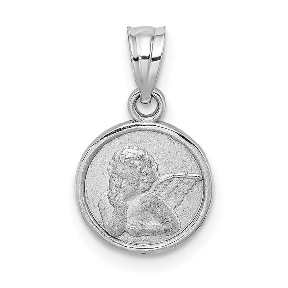 14k White Gold 10mm Engraved Angel Coin Pendant