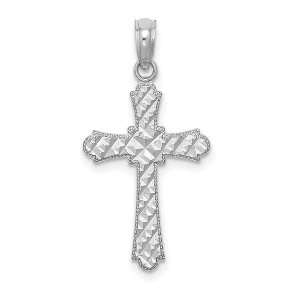14k White Gold Diamond-Cut Marquise-Shape Cross Pendant