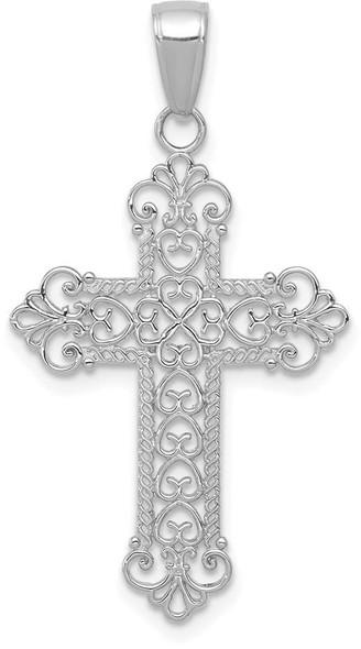 14k White Gold Delicate Fleur De Lis Cross Pendant