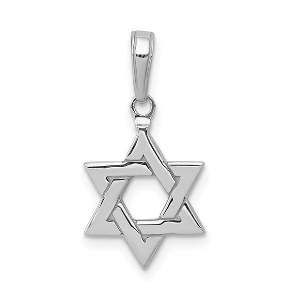 14K White Gold Polished Star Of David Pendant