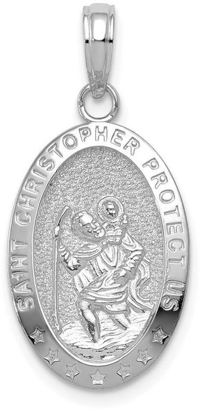 14k White Gold Saint Christopher Protect Us Medal Pendant