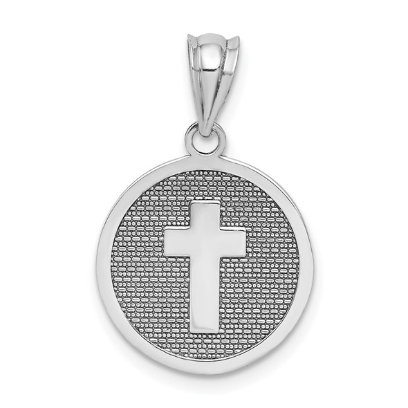 14k White Gold Reversible Cross and 1st Holy Communion Pendant
