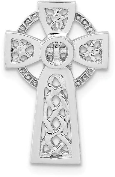 14k White Gold Polished Celtic Cross Slide Pendant