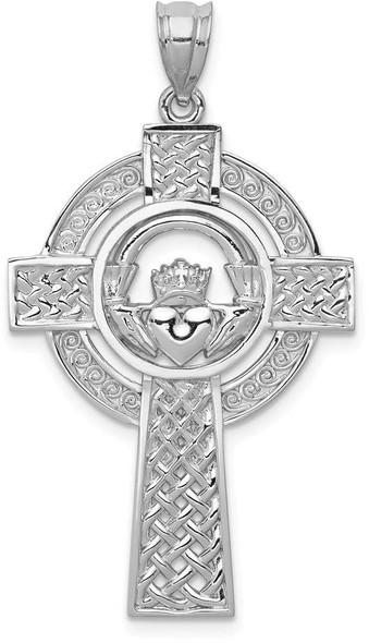 14k White Gold Celtic Claddagh Cross Pendant