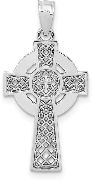 14k White Gold Celtic Cross Pendant K5516
