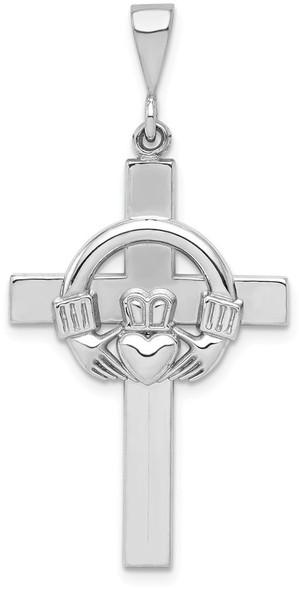 14k White Gold Claddagh Cross Pendant