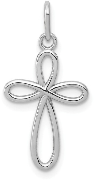 14k White Gold Polished Small Ribbon Cross Pendant