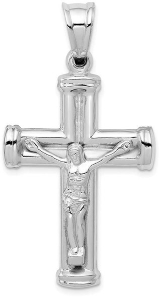 14k White Gold Reversible Crucifix / Cross Pendant D3243