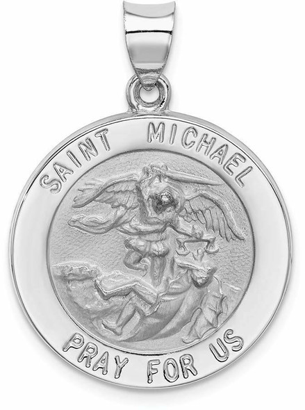 14k White Gold Polished and Satin St. Michael Medal Pendant XR1364