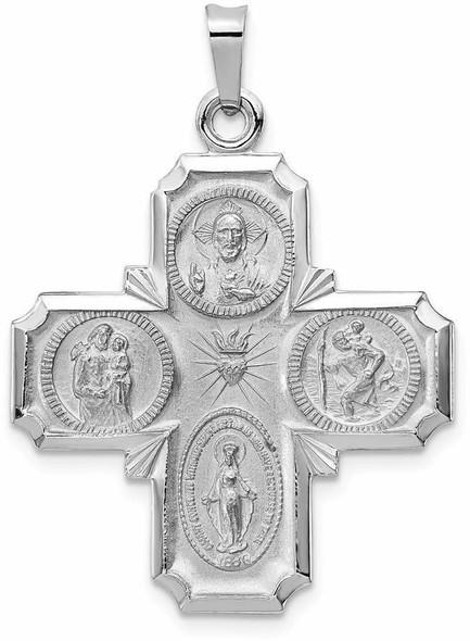 14k White Gold Four Way Medal Pendant XCH319