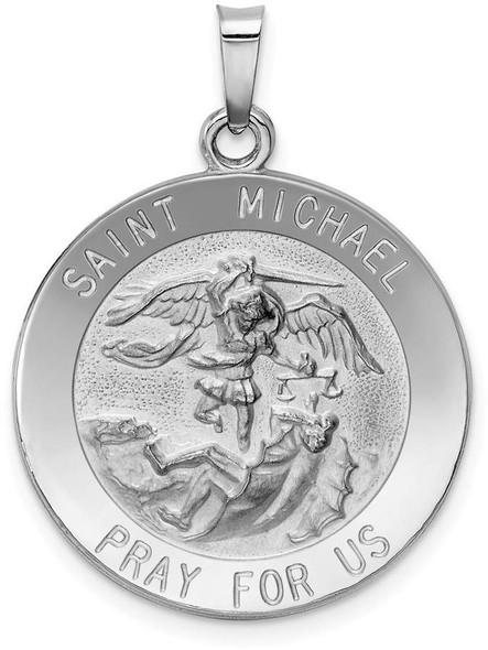 14k White Gold Saint Michael Medal Pendant