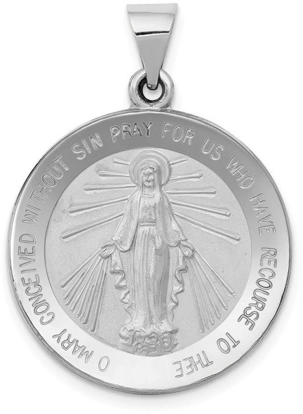 14k White Gold Polished and Satin Miraculous Medal Pendant XR1274