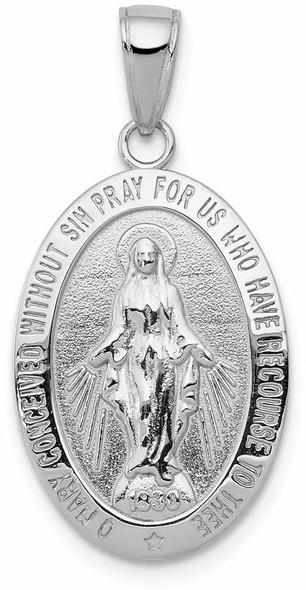 14k White Gold Polished and Textured Large Miraculous Medal Pendant