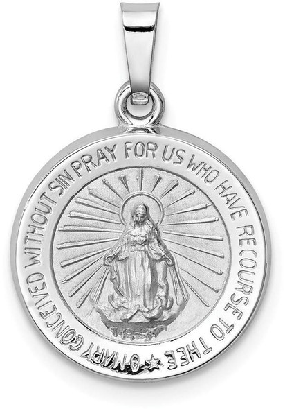 14k White Gold Polished and Satin Miraculous Medal Pendant XR1272