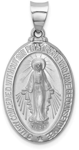 14k White Gold Polished and Satin Miraculous Medal Pendant XR1278