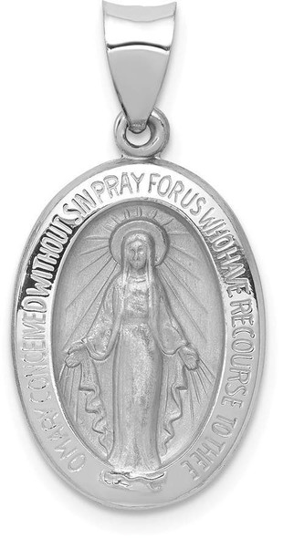 14k White Gold Polished and Satin Miraculous Medal Pendant XR1399
