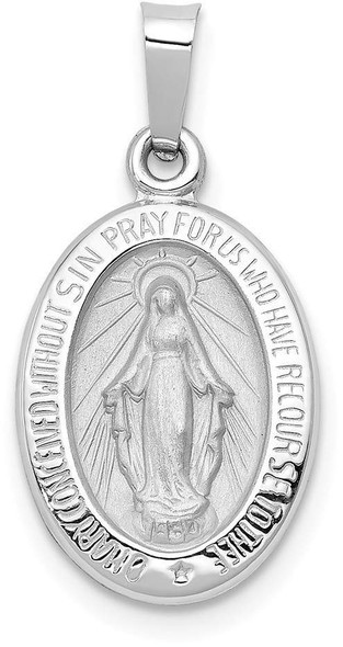 14k White Gold Polished and Satin Miraculous Medal Pendant XR1400