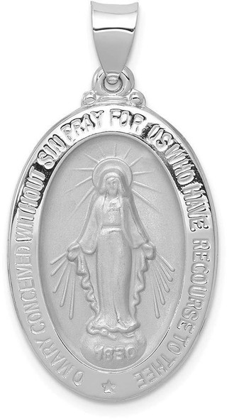 14k White Gold Polished and Satin Miraculous Medal Pendant XR1404