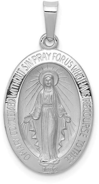 14k White Gold Miraculous Medal Pendant XR515