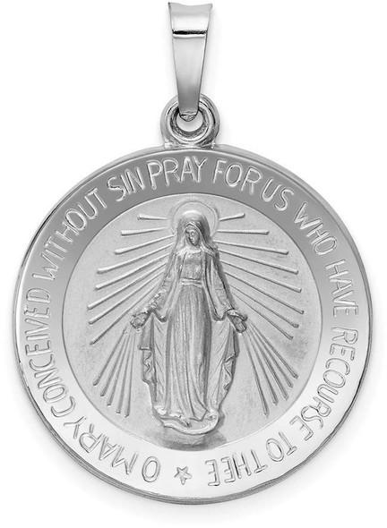 14k White Gold Miraculous Medal Pendant XR520