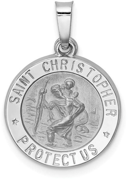 14k White Gold Polished and Satin St. Christopher Medal Pendant XR1300