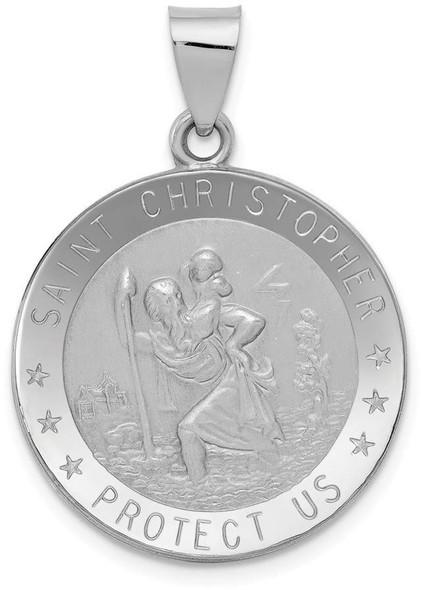 14k White Gold Polished and Satin St. Christopher Medal Pendant XR1302