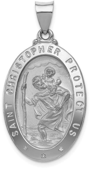 14k White Gold Polished and Satin St. Christopher Medal Pendant XR1307