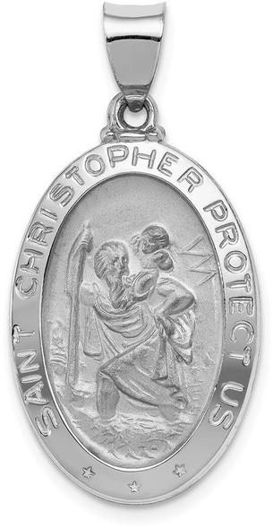 14k White Gold Polished and Satin St. Christopher Medal Pendant XR1309