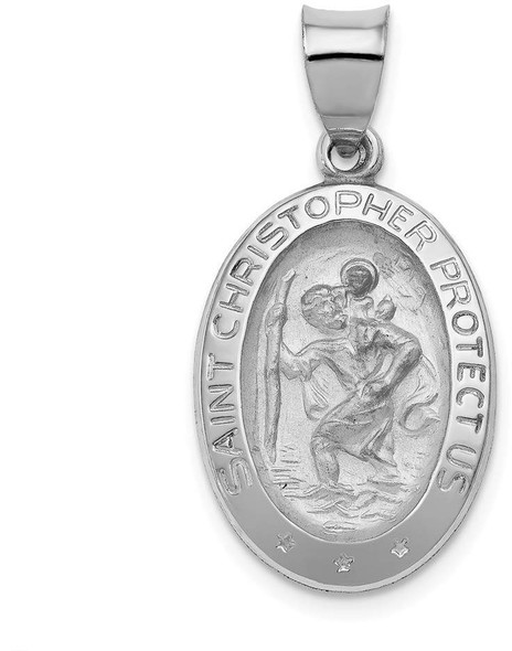 14k White Gold Polished and Satin St. Christopher Medal Pendant XR1311
