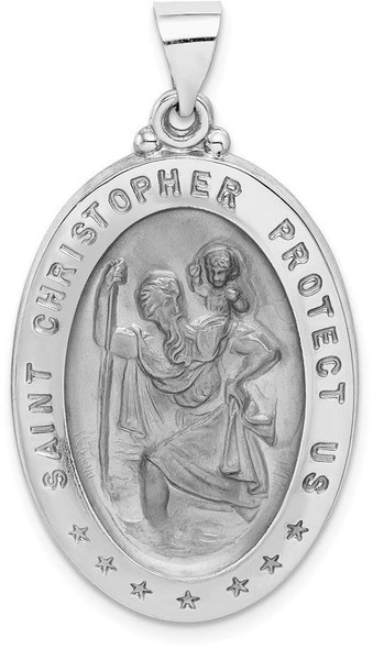 14k White Gold Polished and Satin St. Christopher Medal Pendant XR1312