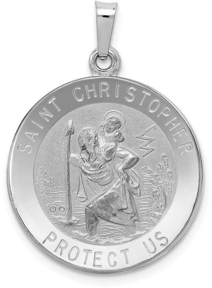 14k White Gold Saint Christopher Medal Pendant XR514