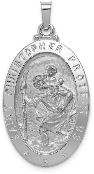 14k White Gold Saint Christopher Medal Pendant XR516